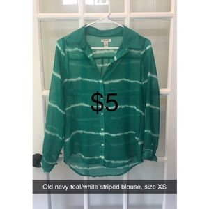 Old navy teal/white striped blouse size XS